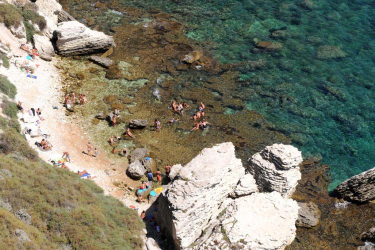 Plage, Sutta Rocca, falaise, Bonifacio, Corse