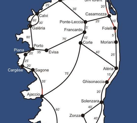 Durata dei viaggi in macchina in Corsica